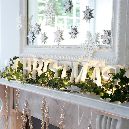 Christmas Fireplace with foliage