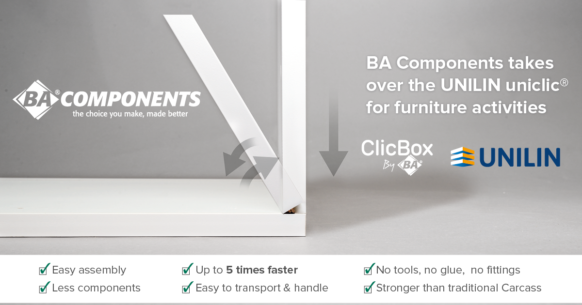 BA Components takes over the Unilin uniclic® for furniture activities